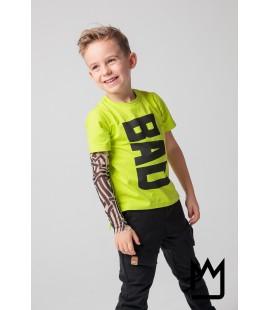T-shirt BAD +rękaw tatuaż - lemonka 92/104/116cm