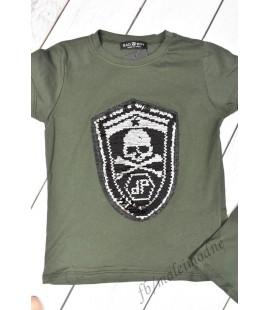 T-shirt cekiny 3D CZASZKA II 98-152