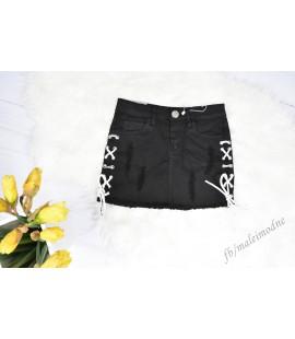 Spódniczka SZNUROWANA jeans przetarcia  czarna 122 - 164