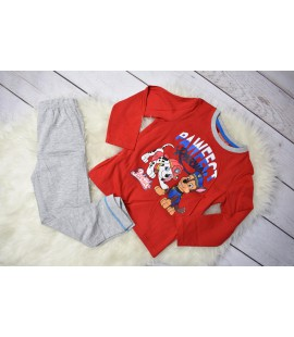 Piżama chłopięca Psi Patrol (Patrol Paw) czerwono-szara