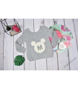 Sweterek Minnie Perełki szary 98 - 164