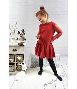 Sukienka wizytowa świąteczna TIUL czerwona 128 - 158cm