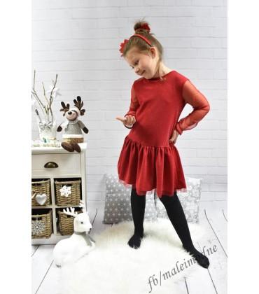 77848ae3c5 Sukienka wizytowa świąteczna TIUL czerwona 128 - 158cm
