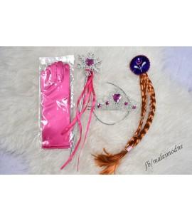 Zestaw akcesoriów Elsy - tiara, różdżka, warkocz