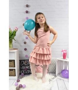 Wizytowa sukienka z perełkami PUDROWY RÓŻ - 98 -104/110-116/146-152/158-164cm