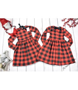 Sukienka czerwona KRATA  86 - 122cm