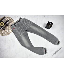 Joggery jeans szare gładkie 122- 152cm