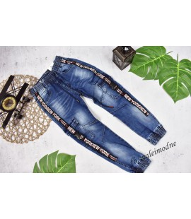 Joggery jeans z ozdobnymi KLAMRAMI 122- 152cm