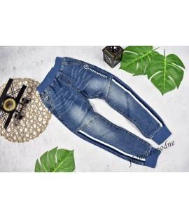Joggery jeans biało-granatowy lampas 98 - 152cm