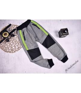 Spodnie ocieplane SZARE + lemonka 122 -  176cm