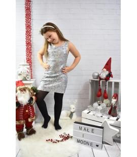 Sukienka cekinowa srebrna 98  - 164cm