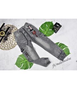 Joggery jeans bojówki szare 122/128cm