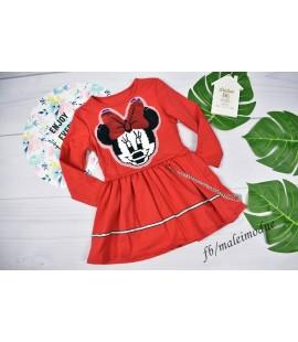 Sukienka Minnie z łańcuszkiem i cekiny obracane  98 - 164cm