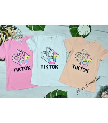 T-shirt TIK TOK  podwójna nutka z dżetami 134 - 164 cm