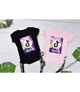 T-shirt TIK TOK tęczowy  z taśmami 110 - 176 cm
