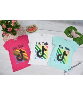 T-shirt TIK TOK tęcza z dżetami 128 - 158 cm