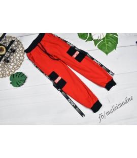 Spodnie NASA czerwone z klamerkami 98-128cm