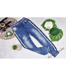 Joggery jeans  biało-granatowy lampas 122- 176cm