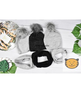 Komplet jesienny czapka + komin UNI