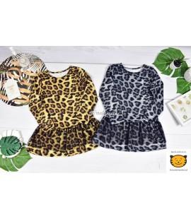Sukienka panterka  z tiulem 98  - 164cm