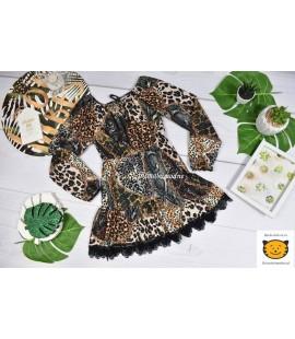 Sukienka panterka patchworkowa 98  - 164cm